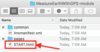 Screenshot of the folder once the zipped file is open; shows an arrow pointing to the START.html file.
