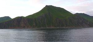 Photo showing mass wasting at Dutch Harbor AK