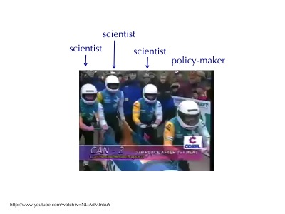 Scientists are like bobsled team pushers