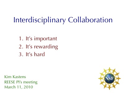 Title slide from Kim\'s interdisciplinarity talk