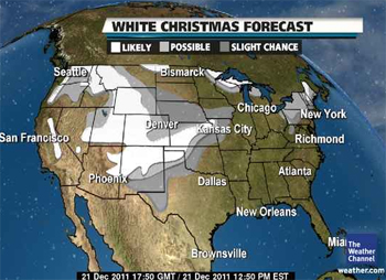 White Christmas forecast map