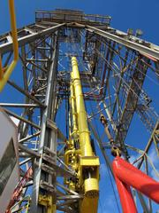 An image of the derrick on the Joides Resolution.