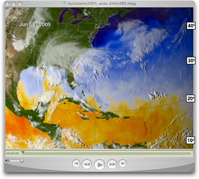 Screen shot of the 2005 hurricane season visualization with latitude labels attached.