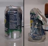 Before and After of pop can crushed by air pressure