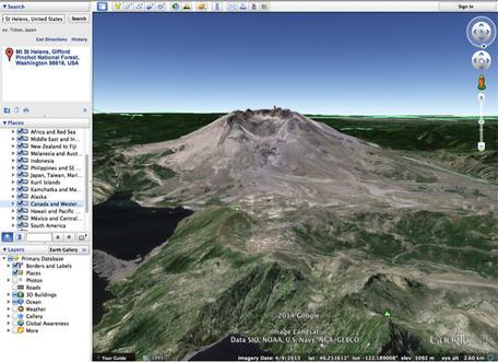 Google Earth Screenshot: Mt. St. Helens