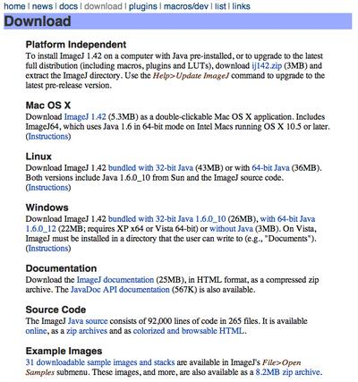 ImageJ Download page