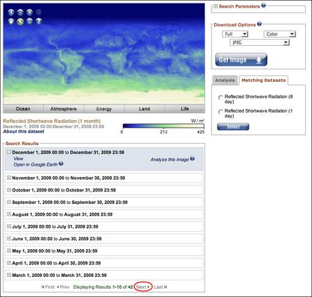 NEO reflected radiation dataset