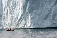 zodiac near iceberg
