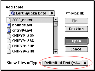 Add last year's earthquakes to the project as a table