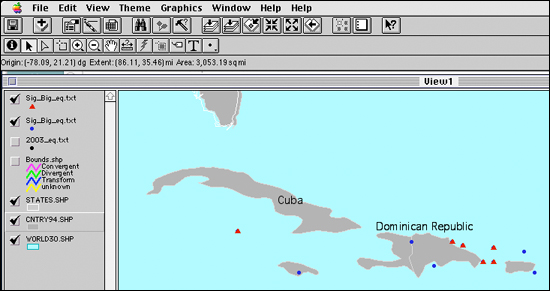 Zoom in on Cuba region of big earthquakes