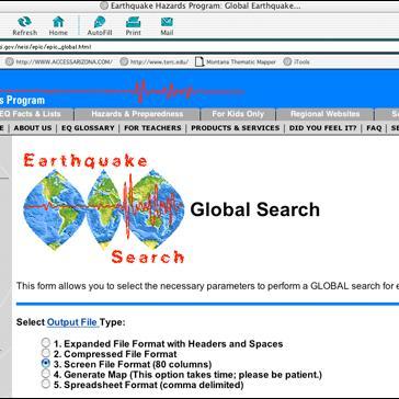 Spreadsheet Format Usgs Earthquake Hazards Program