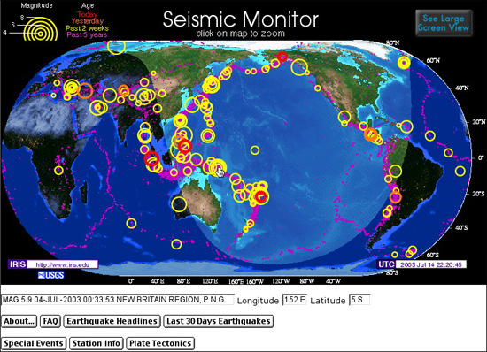Opening Map at the IRIS Seismic Monitor