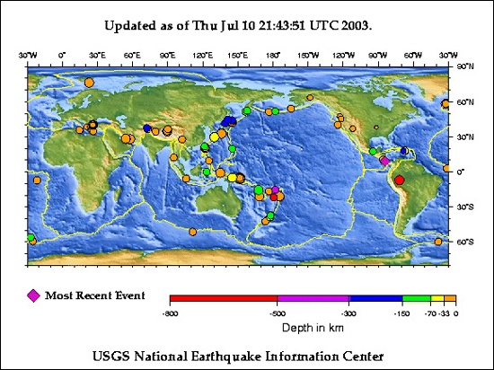 World Earthquake Map News.  Recent earthquakes plotted on world map