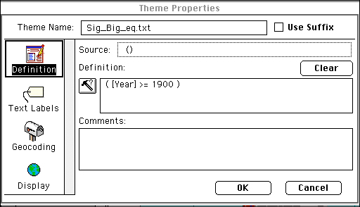 Theme properties options