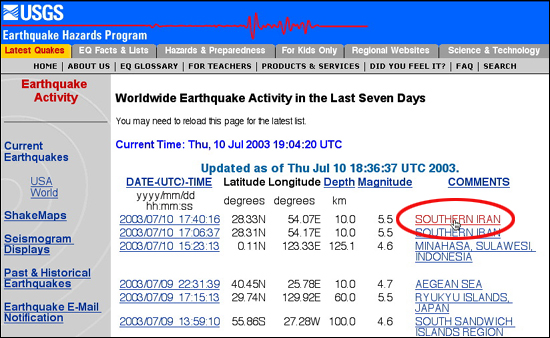 Last seven days of earthquakes worldwide