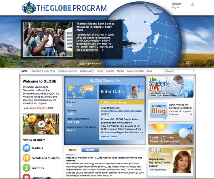 Globe opening page