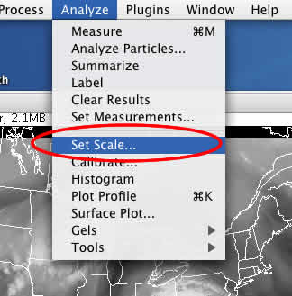 This image shows the Set Scale option under the Analyze menu.
