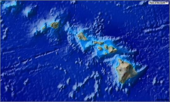 Map image centered on Hawaii