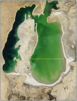 Selecting across widest part of Aral Sea