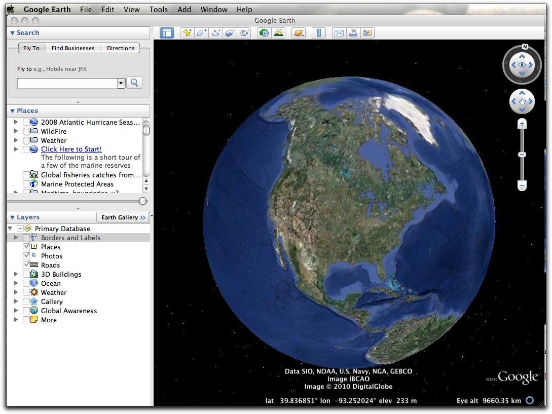 show me the main google earth for windows window