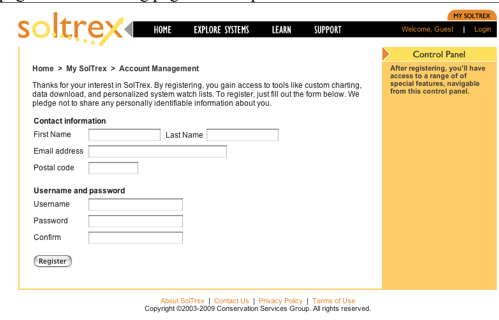 registration page Soltrex