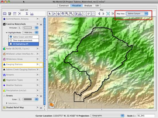 sabino canyon map view