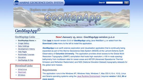 Geomapapp home download links