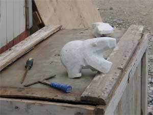 carving of a polar bear