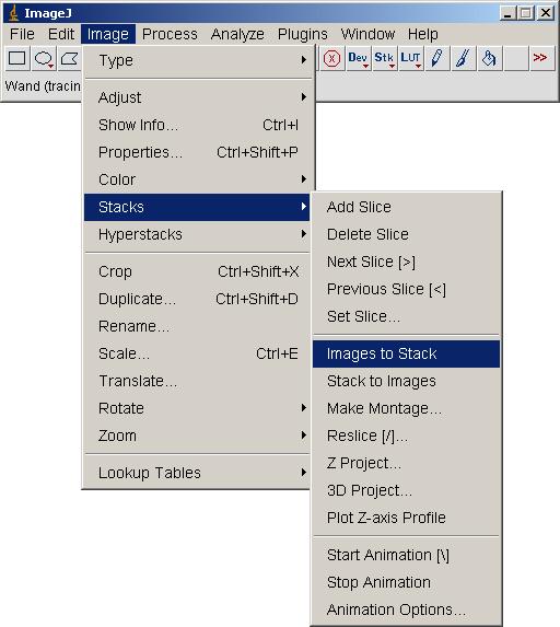 image to stack menu