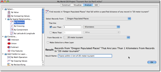 dialog box select by distance