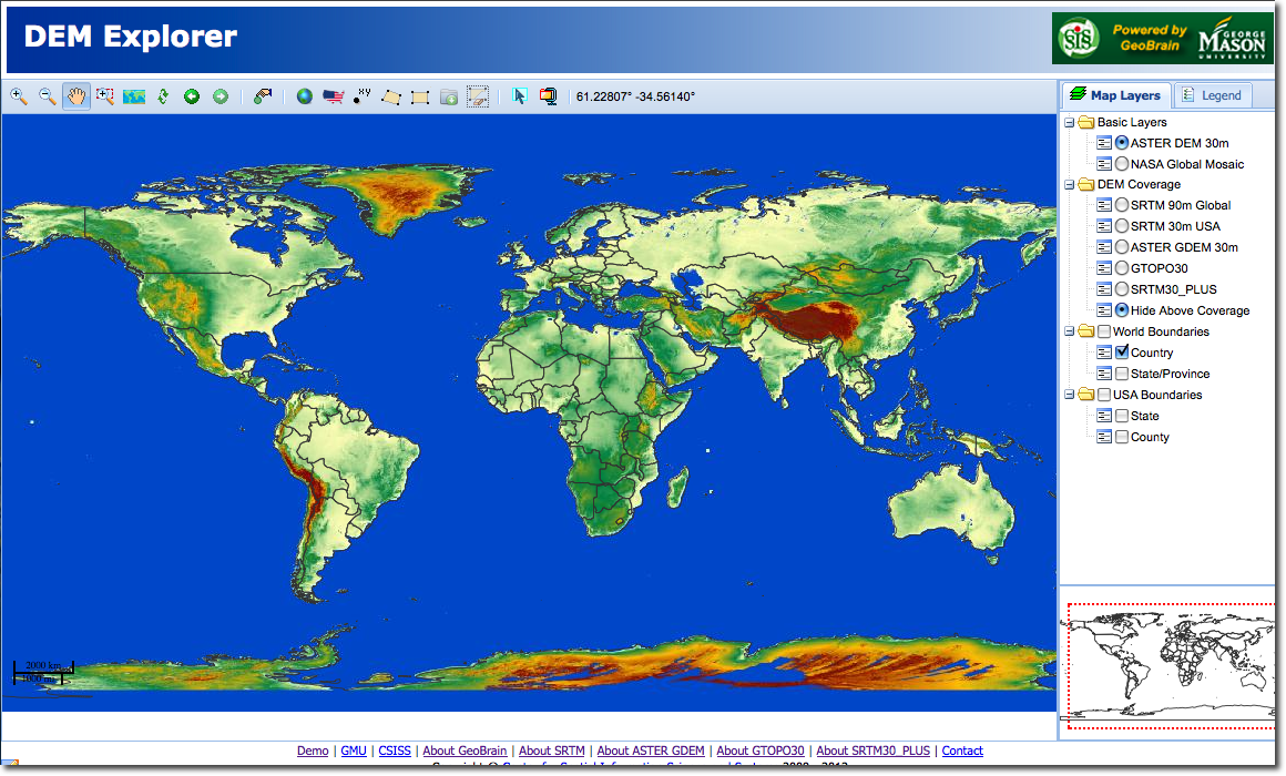 Part Download And Import DEM Data - World elevation map