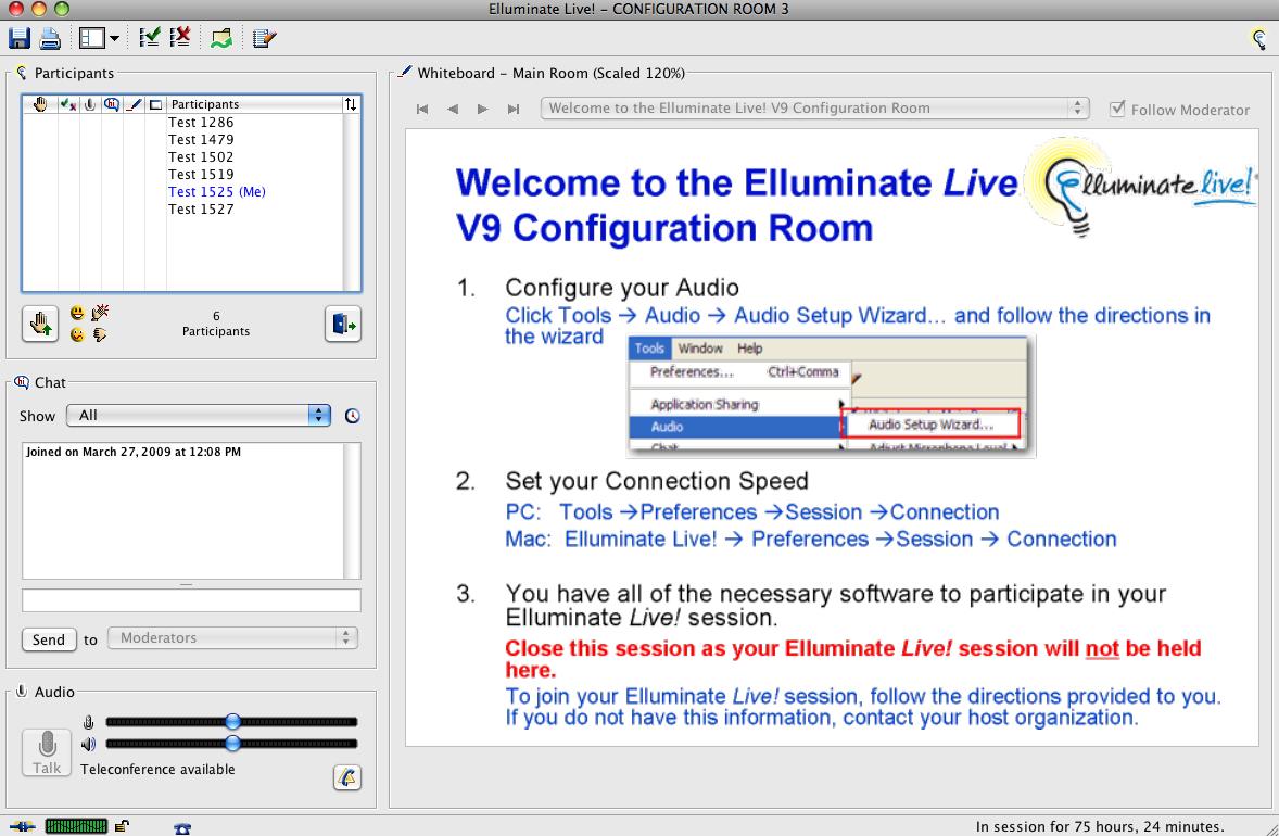 Elluminate Configuration Room