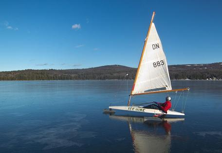 Iceboat, sailing on Lake Sunapee, New Hampshire