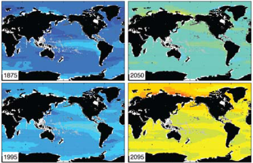 Modeled ocean surface pH: Historical values and projected future values based on emissions projections. Source: US National Center for Atmospheric Research Community Climate System Model 3.1 (CC SM3).