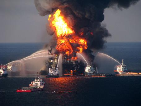 Oil Rig Burning