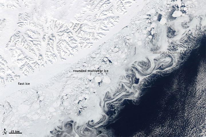 Varied Ice Shapes along the Greenland Coast