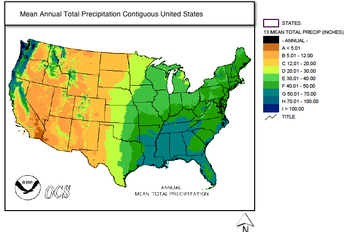 C Maps That Describe Climate - Map of annual precipitation across us