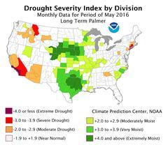 palmer drought map May 2016