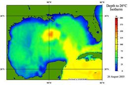 Depth to 26.C Isotherm, Gulf of Mexico, 26 August, 2005