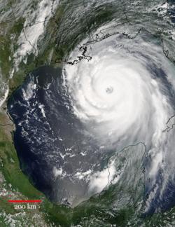 Image of Hurricane Katrina approaching the Gulf Coast of the US