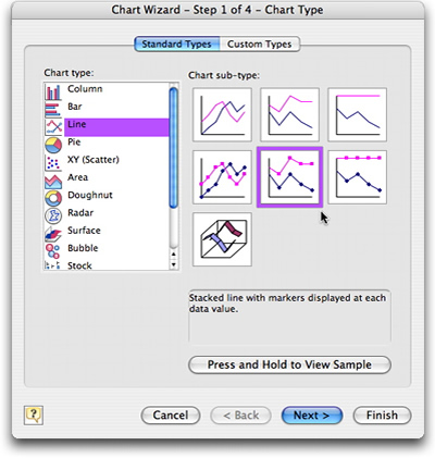 Excel chart wizard step 1