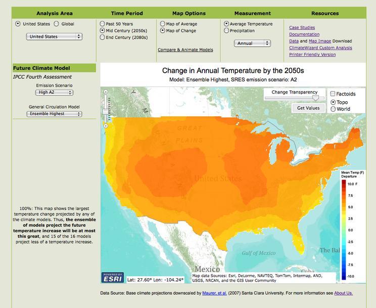 climate  wizard temp 2050