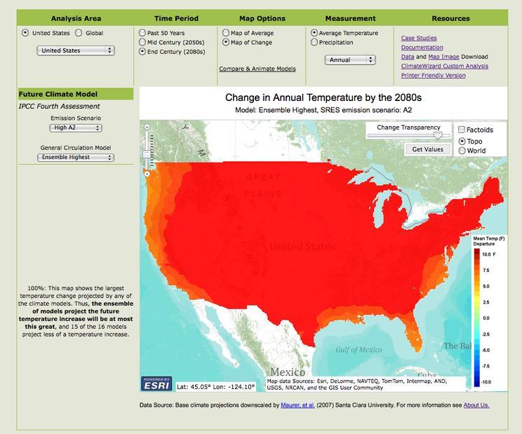 climate  wizard temp 2080