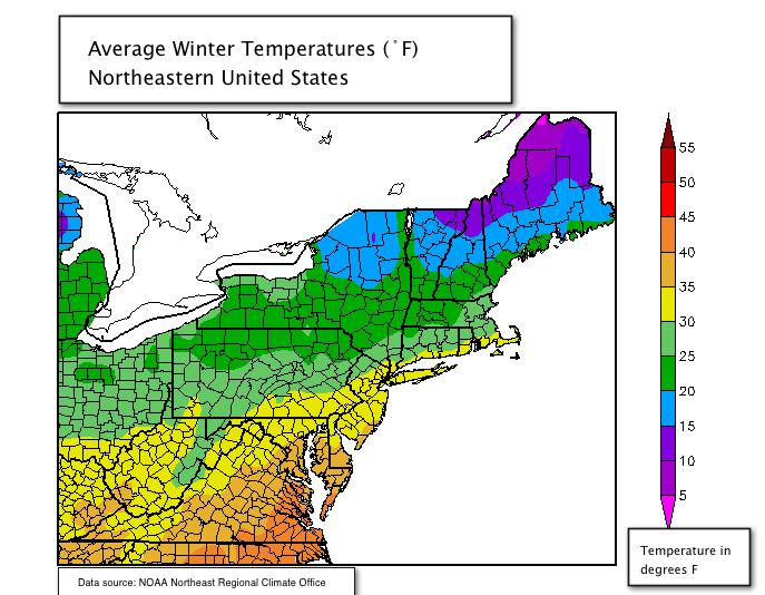 Northeast Regional Climate Map - Average winter temperature us map