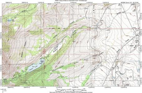 Bloody Canyon Topographic Map
