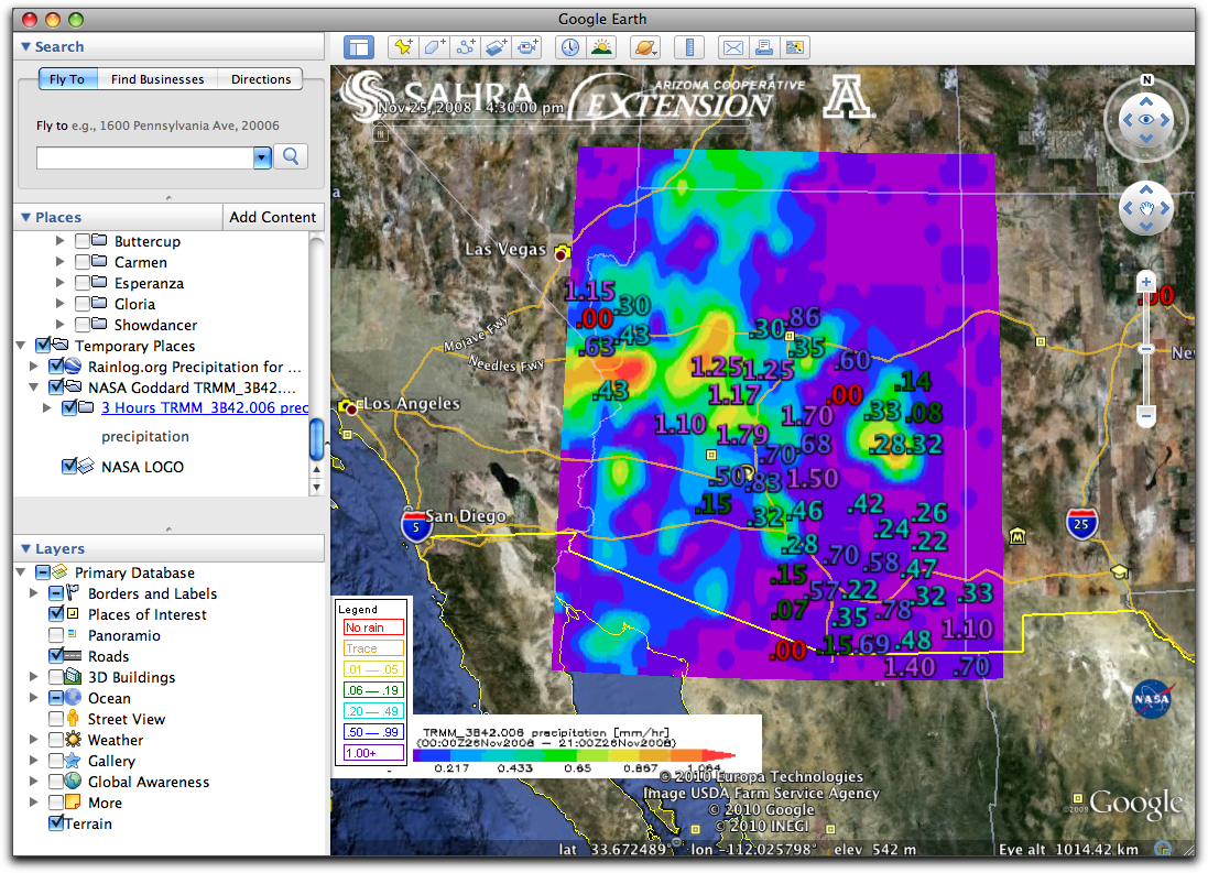Using Google Earth to Visualize Rainfall Patterns in Arizona