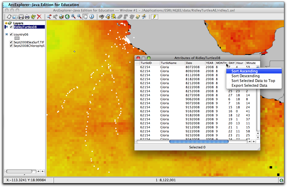 Exploring ocean data with aejee for Html table sortable attribute