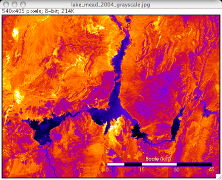 Lake Mead image with Fire LUT applied