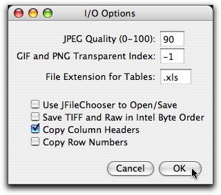 I/O Options Dialog Box