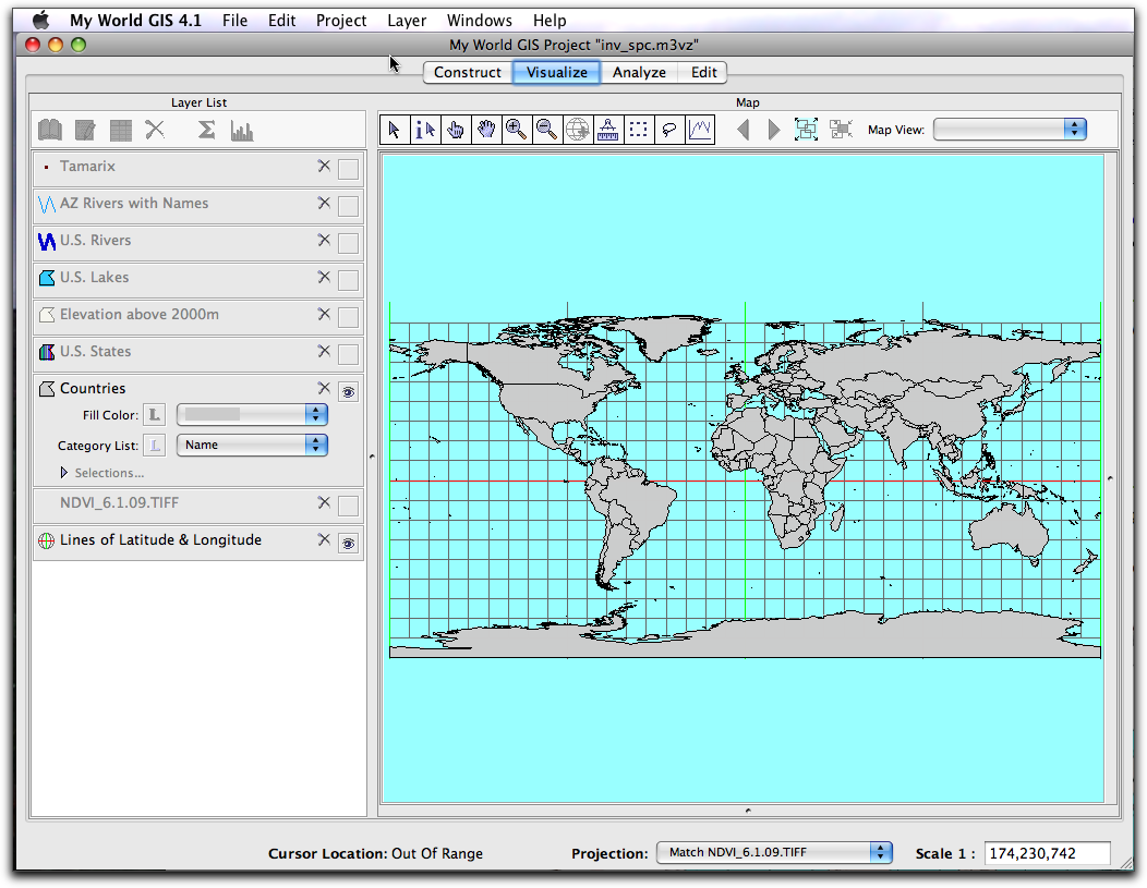 Intro To My World - Map with latitude and longitude represented as parallel